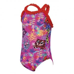 zoggs scribbly jungle ruffle toddler swimwear