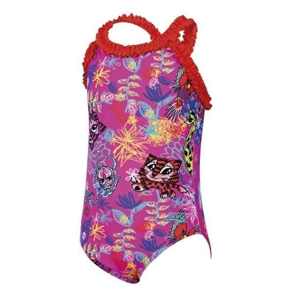 zoggs scribbly jungle ruffle toddler swimwear