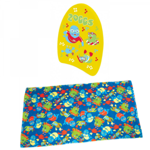 Zoggs mini kickboard and Zoggy swim towel
