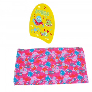 Zoggs mini kickboard swim towel bundle